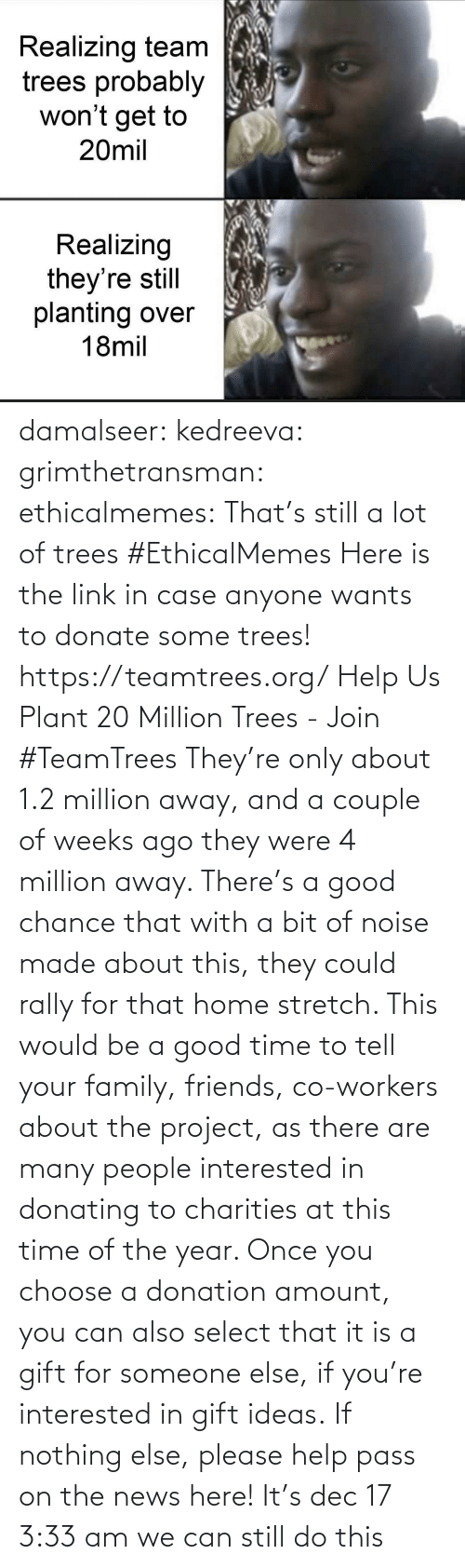 Family, Friends, and News: Realizing team  trees probably  won't get to  20mil  Realizing  they're still  planting over  18mil damalseer:  kedreeva: grimthetransman:  ethicalmemes:  That's still a lot of trees #EthicalMemes   Here is the link in case anyone wants to donate some trees!  https://teamtrees.org/ Help Us Plant 20 Million Trees - Join #TeamTrees  They're only about 1.2 million away, and a couple of weeks ago they were 4 million away. There's a good chance that with a bit of noise made about this, they could rally for that home stretch. This would be a good time to tell your family, friends, co-workers about the project, as there are many people interested in donating to charities at this time of the year. Once you choose a donation amount, you can also select that it is a gift for someone else, if you're interested in gift ideas. If nothing else, please help pass on the news here!    It's dec 17 3:33 am we can still do this