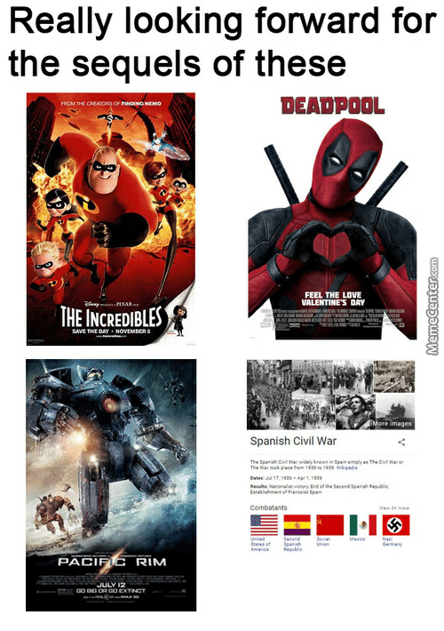 Finding Nemo, Love, and Spanish: Really looking forward for  the sequels of these  DEADPOOL  FROM THE CREAORSoF  Or FINDING NEMO  FEEL THE LOVE  VALENTINE'S DAY  THE INCREDIBLES  THE DAY NOVEMBERs  More images  Spanish Civil War  Date:7  Combatants  IC  PACI  RIM  JULY  DO EXTINCT
