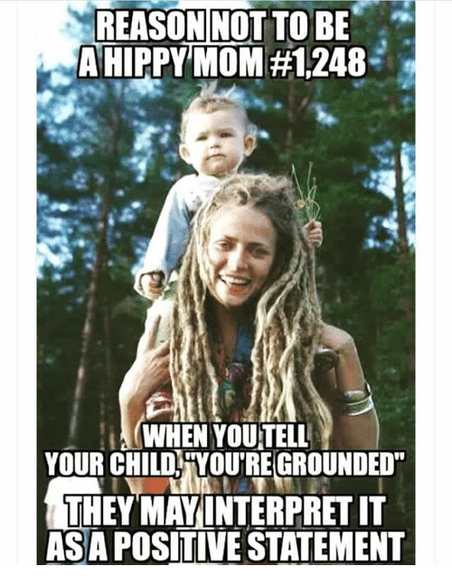 "Memes, Reason, and Mom: REASON NOT TO BE  A HIPPY MOM  WHEN YOUTELL  YOUR CHILD YOUTREGROUNDED""  THEY MAYINTERPRETIT  ASA POSITIVE STATEMENT"