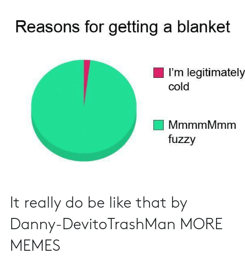 Be Like, Dank, and Memes: Reasons for getting a blanket  I'm legitimately  cold  MmmmMmm  fuzzy It really do be like that by Danny-DevitoTrashMan MORE MEMES