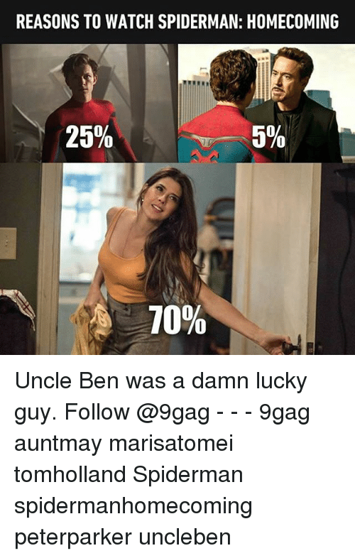9gag, Memes, and Spiderman: REASONS TO WATCH SPIDERMAN: HOMECOMING  25%  5%  10% Uncle Ben was a damn lucky guy. Follow @9gag - - - 9gag auntmay marisatomei tomholland Spiderman spidermanhomecoming peterparker uncleben
