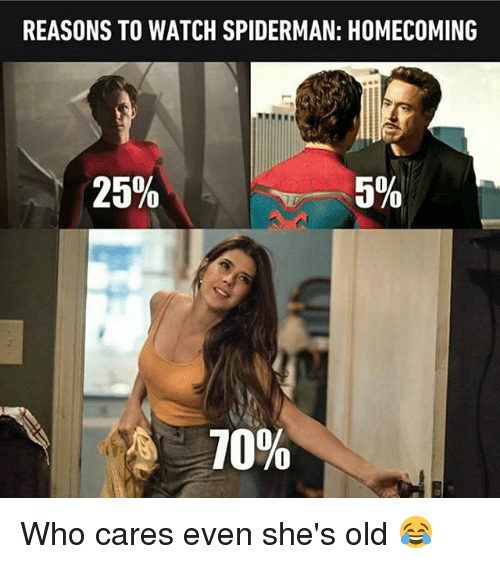 Memes, Spiderman, and Watch: REASONS TO WATCH SPIDERMAN: HOMECOMING  25%  5%  10% Who cares even she's old 😂