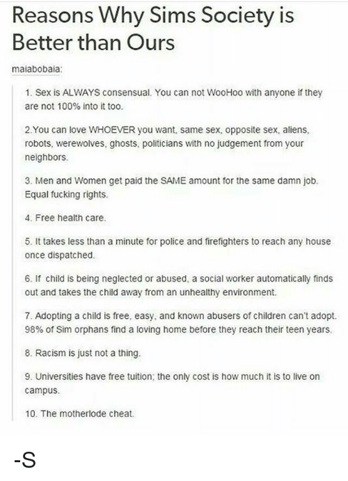 Reasons Why Sims Society Is Better Than Ours Maiabobaia 1 Sex Is