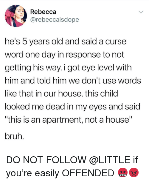 "Bruh, Memes, and House: Rebecca  @rebeccaisdope  he's 5 years old and said  word one day in response to not  getting his way. i got eye level with  him and told him we don't use words  like that in our house. this child  looked me dead in my eyes and said  ""this is an apartment, not a house""  bruh  a curse DO NOT FOLLOW @LITTLE if you're easily OFFENDED 🤬😡"