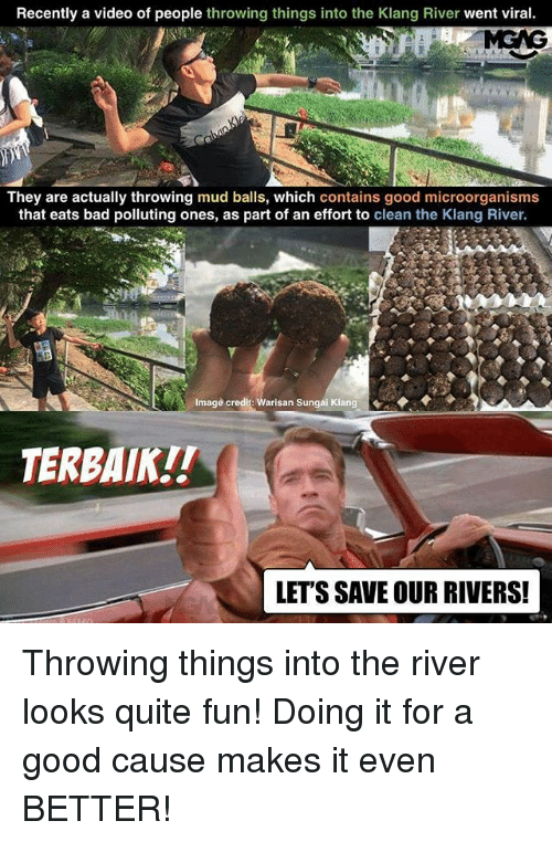 Bad, Memes, and Good: Recently a video of people throwing things into the Klang River went viral.  They are actually throwing mud balls, which contains good microorganisms  that eats bad polluting ones, as part of an effort to clean the Klang River.  Image credit: Warisan Sungai Klang  TERBAIK!!  LET'S SAVE OUR RIVERS! Throwing things into the river looks quite fun! Doing it for a good cause makes it even BETTER!