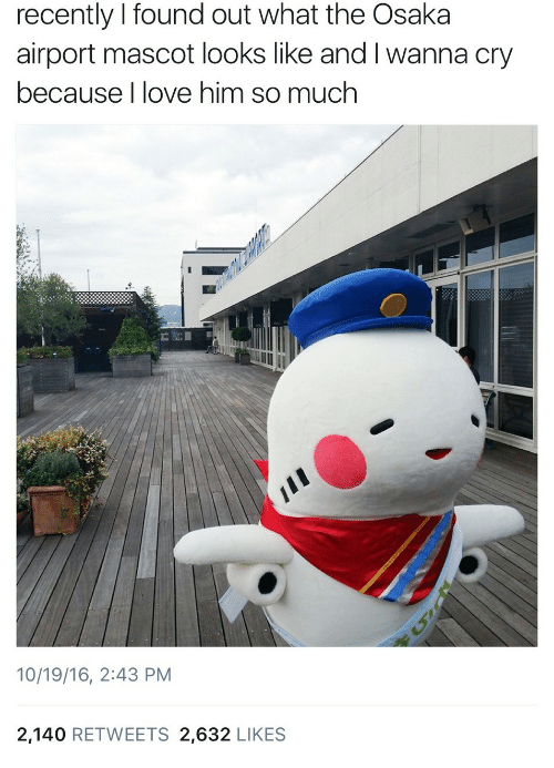 Love, Him, and Cry: recently I found out what the Osaka  airport mascot looks like and I wanna cry  because I love him so much  10/19/16, 2:43 PM  2,140 RETWEETS 2,632 LIKES