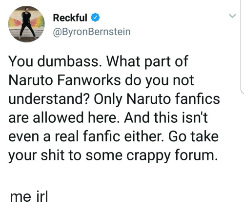 Reckful You Dumbass What Part of Naruto Fanworks Do You Not