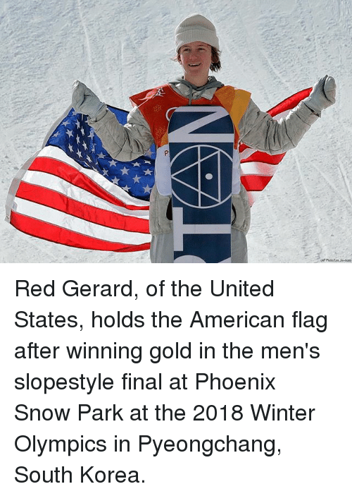 Memes, Winter, and American: Red Gerard, of the United States, holds the American flag after winning gold in the men's slopestyle final at Phoenix Snow Park at the 2018 Winter Olympics in Pyeongchang, South Korea.