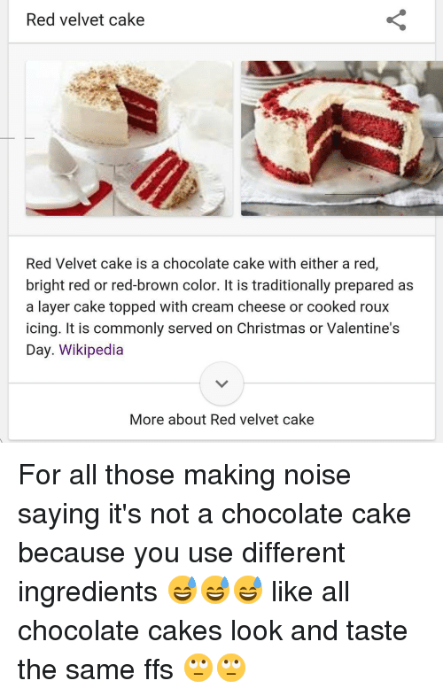 Red Velvet Cake Red Velvet Cake Is A Chocolate Cake With Either A