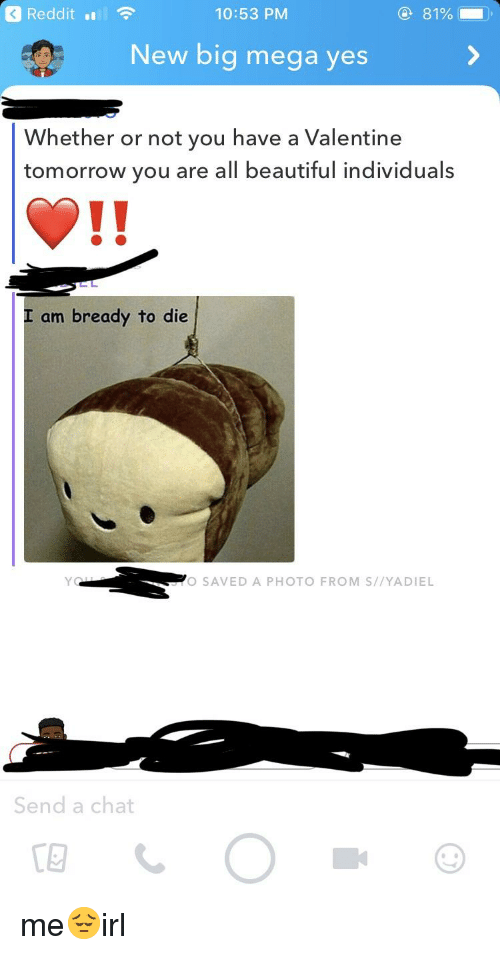 Beautiful, Reddit, and Chat: Reddit  10:53 PM  81%  New big mega yes  Whether or not you have a Valentine  tomorrow you are all beautiful individuals  I am bready to die  O SAVED A PHOTO FROM S//YADIEL  Send a chat