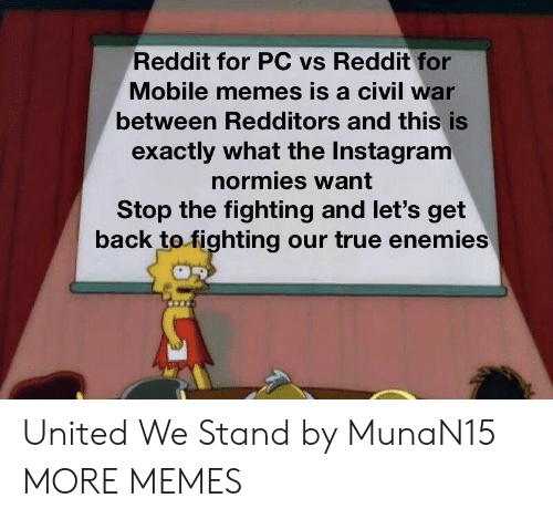 Dank, Instagram, and Memes: Reddit for PC vs Reddit for  Mobile memes is a civil war  between Redditors and this is  exactly what the Instagram  normies want  Stop the fighting and let's get  back tofighting our true enemies United We Stand by MunaN15 MORE MEMES