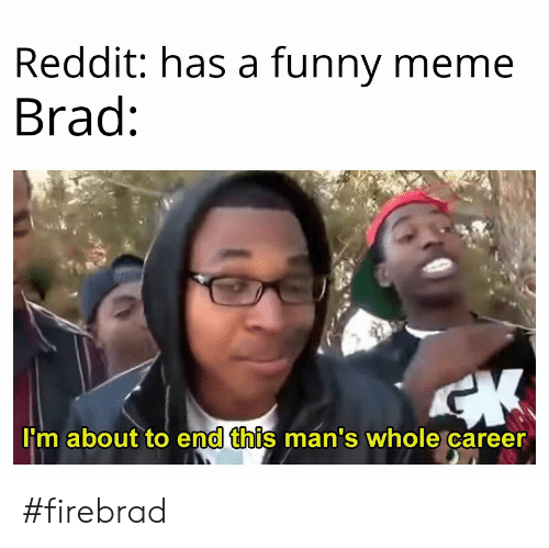 Funny, Meme, and Reddit: Reddit: has a funny meme  Brad  I'm about to end this man's whole career  0 #firebrad
