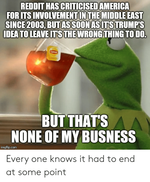 Reddit, The Middle, and Advice Animals: REDDIT HAS CRITICISEDAMERICA  FOR ITS INVOLVEMENTIN THE MIDDLE EAST  SINCE 2003, BUT ASSOON ASITS TRUMP'S  IDEA TO LEAVE IT S THEWRONG THING TO DO.  BUT THAT'S  NONE OF MY BUSNESS  imgflip.com Every one knows it had to end at some point