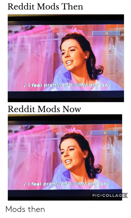 Reddit, Collage, and Dank Memes: Reddit Mods Then  II  Pi feel pretty and witty and gay  Reddit Mods Now  II  PI feel pretty and witty and gay  PIC COLLAGE Mods then
