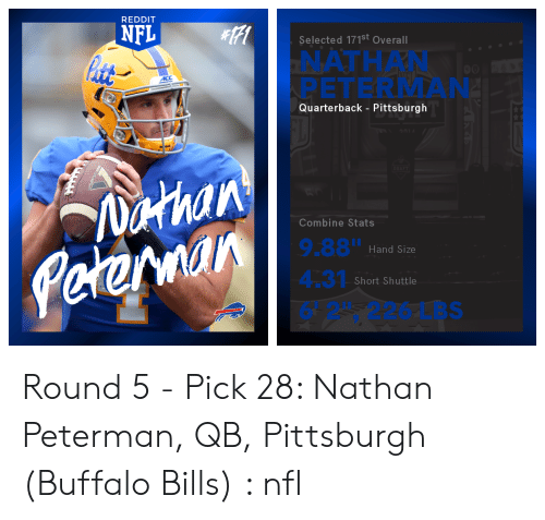 88776670577 Nfl, Reddit, and Buffalo Bills: REDDIT NFL Selected 171st Overall NATHAN  PETERMAN Quarterback