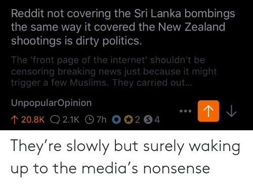 Reddit Not Covering the Sri Lanka Bombings the Same Way It