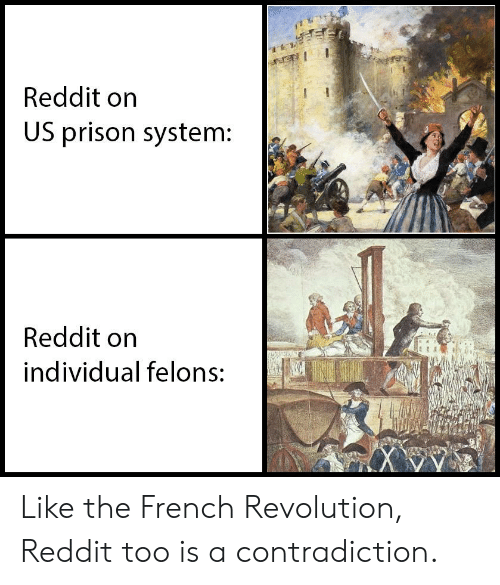 Reddit, Prison, and History: Reddit on  US prison system:  Reddit on  individual felons: Like the French Revolution, Reddit too is a contradiction.