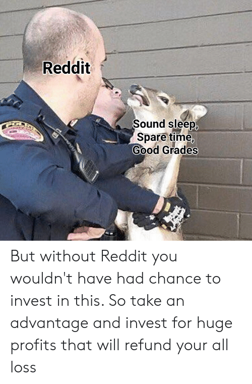 Reddit, Good, and Time: Reddit  Sound sleep  Spare time,  Good Grades But without Reddit you wouldn't have had chance to invest in this. So take an advantage and invest for huge profits that will refund your all loss