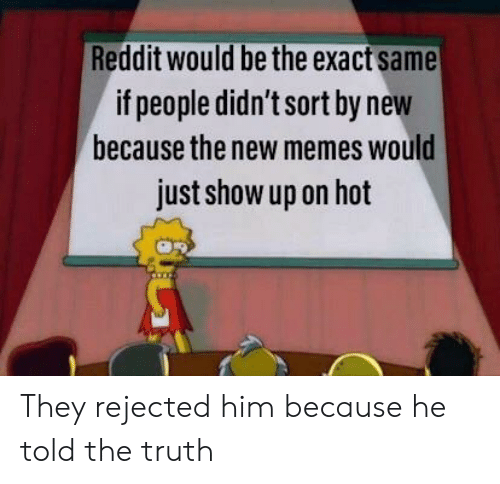 Reddit Would Be the Exact Same if People Didn't Sort by New Because