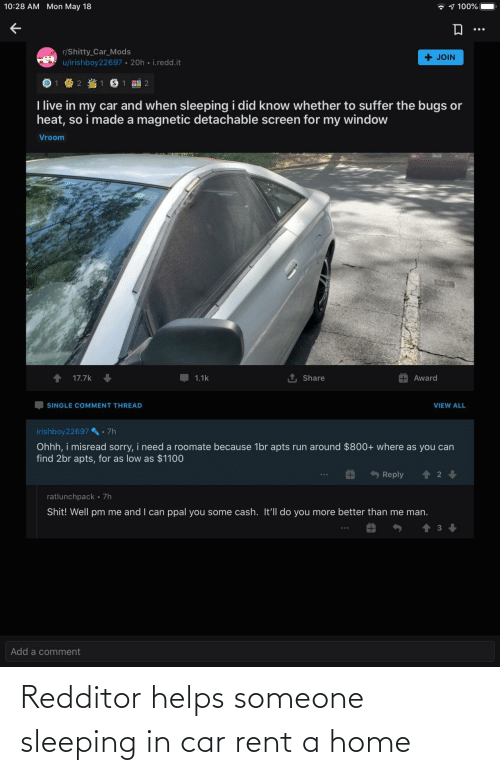 Home, Sleeping, and Helps: Redditor helps someone sleeping in car rent a home