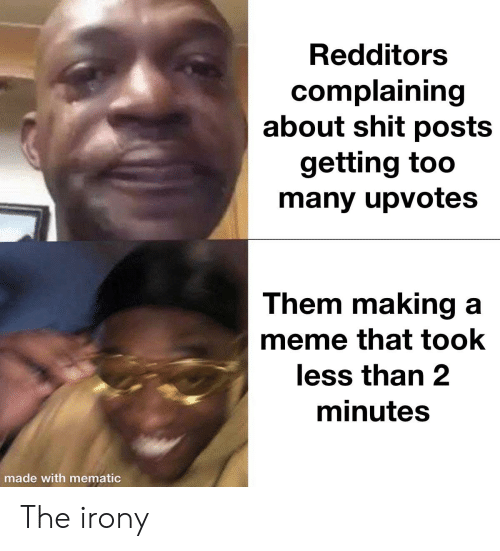 Meme, Irony, and Dank Memes: Redditors  complaining  about shit posts  getting too  many upvotes  Them making a  meme that took  less than 2  minutes  made with mematic The irony