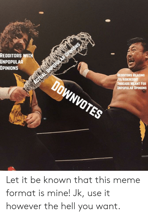 Meme, Reddit, and Hell: REDDITORS WITH  UNPOPULAR  OPINIONS  REDDITORS READING  /R/ASKREDDIT  THREADS MEANT FOR  UNPOPULAR OPINIONS  DOWNVOT  ES Let it be known that this meme format is mine! Jk, use it however the hell you want.