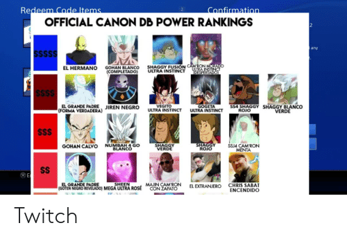 Redeem Code Ltems Confirmation OFFICIAL CANON DB POWER RANKINGS 2