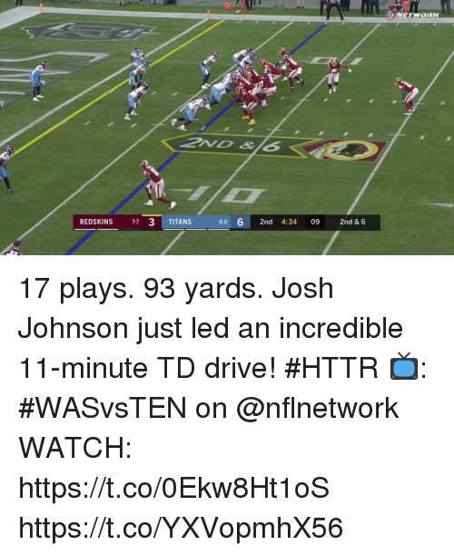 Memes, Washington Redskins, and Drive: REDSKINS 77 3 TITANS  8-6 6 2nd 4:34 09 2nd & 6 17 plays. 93 yards.  Josh Johnson just led an incredible 11-minute TD drive! #HTTR  📺: #WASvsTEN on @nflnetwork WATCH: https://t.co/0Ekw8Ht1oS https://t.co/YXVopmhX56