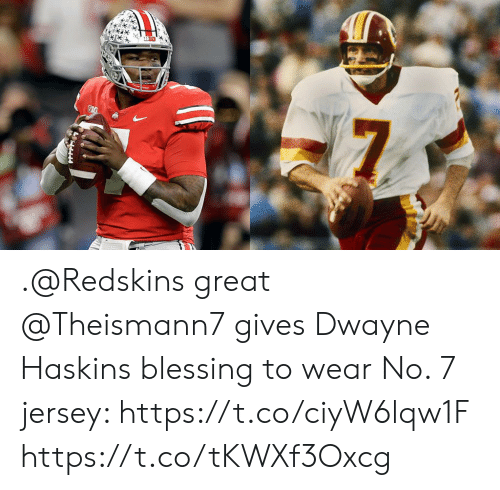 brand new 48adb fd87f Great Gives Dwayne Haskins Blessing to Wear No 7 Jersey ...