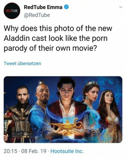 Aladdin, Movie, and Porn: RedTube Emma  @RedTube  REDTUBE  Why does this photo of the new  Aladdin cast look like the porn  parody of their own movie?  Tweet übersetzen  20:15 08 Feb. 19 Hootsuite Inc.
