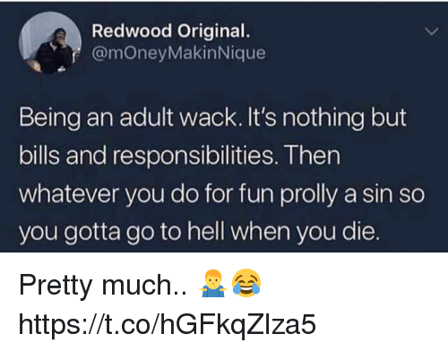 Being an Adult, Memes, and Hell: Redwood Original.  @moneyMakinNique  Being an adult wack. It's nothing but  bills and responsibilities. Then  whatever you do for fun prolly a sin so  you gotta go to hell when you die. Pretty much.. 🤷♂️😂 https://t.co/hGFkqZlza5