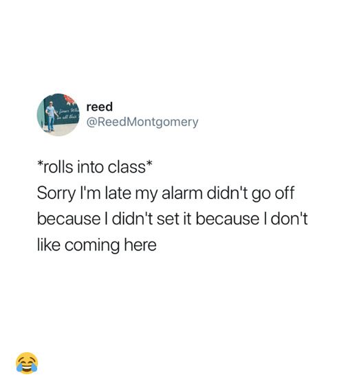 Sorry, Alarm, and Class: reed  @ReedMontgomery  ll this  'rolls into class*  Sorry I'm late my alarm didn't go off  because l didn't set it because I don't  like coming here 😂