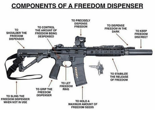 Memes, Control, and Freedom: REEDOM DISPEN  TO PRECISELY  DISPENSE  FREEDOM  TO  SHOULDER THE  FREEDOM  DISPENSER  TO CONTROL  THE AMOUNT OF  FREEDOM BEING  DESPENSED  TO DISPENSE  FREEDOM IN THE  DARK  TO KEEP  FREEDOM  DISCREET  TO STABILIZE  THE RELEASE  OF FREEDOM  TO LET  FREEDOM  RING  TO GRIP THE  FREEDOM  DISPENSER  TO SLING THE  FREEDOM DISPENSER  WHEN NOT IN USE  TO HOLD A  MAXIMUM AMOUNT OF  FREEDOM SEEDS
