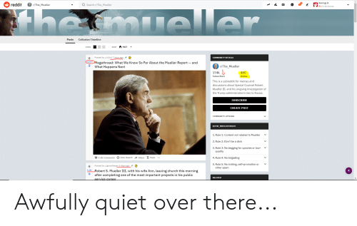 Church, Community, and Memes: ReeingLib  reddit /The_Mueller  Search r/The_Mueller  13.4k karma  Posts Collusion Timeline  VIEW  SORT HOT -  Posted by u/v202 7 days ago  COMMUNITY DETAILS  Megathread: What We Know So Far About the Mueller Report -- and  What Happens Next  929  r/The_Mueller  174k  Subscribers  This is a subreddit for memes and  discussions about Special Counsel Robert  Mueller III, and his ongoing investigation of  the Trump administration's ties to Russia  480  Online  SUBSCRIBE  CREATE POST  COMMUNITY OPTIONS  R/THE_MUELLER RULES  1.Rule 1: Content not related to Mueller  2.Rule 2: Don't be a dick  3. Rule 3: No begging for upvotes or low-  V  V  quality  4. Rule 4: No brigading  5. Rule 5: No trolling, self-promotion or  1.5k Comments Give AwardShareSave  Posted by u/growthseer 6 days ago  after completing one of the most important projects in his public  other spam  1.6k Robert S. Mueller III, with his wife Ann, leaving church this morning  4  RELATED Awfully quiet over there...