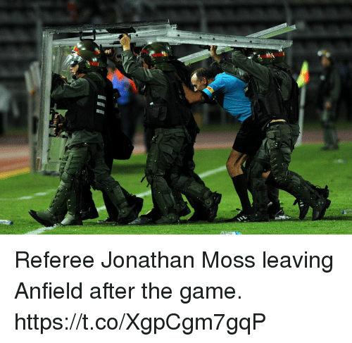 Memes, The Game, and Game: Referee Jonathan Moss leaving Anfield after the game. https://t.co/XgpCgm7gqP