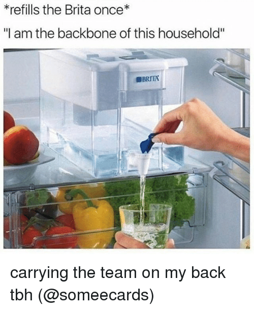"Memes, Tbh, and Someecards: *refills the Brita once*  ""I am the backbone of this household"" carrying the team on my back tbh (@someecards)"