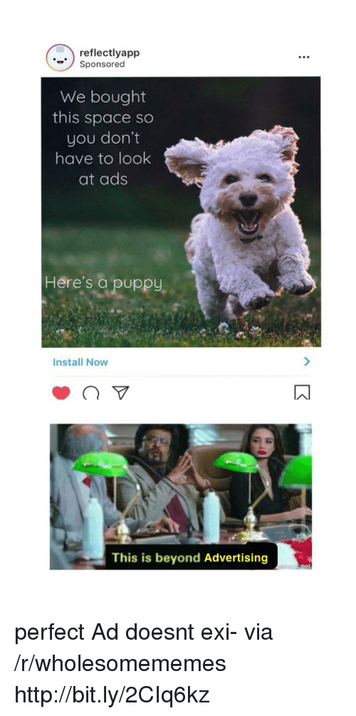 Http, Puppy, and Space: reflectlyapp  Sponsored  We bought  this space so  you don't  have to look  at ads  Here's a puppy,  Install Now  This is beyond Advertising perfect Ad doesnt exi- via /r/wholesomememes http://bit.ly/2CIq6kz