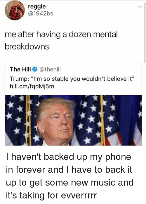 "Memes, Music, and Phone: reggie  @1942bs  me after having a dozen mental  breakdowns  The Hill@thehil  Trump: ""I'm so stable you wouldn't believe it""  hill.cm/fqdMj5m I haven't backed up my phone in forever and I have to back it up to get some new music and it's taking for evverrrrr"