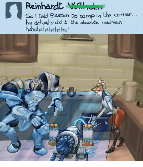 reinhardt i told bastion to camp in the corner he actually did it the absolute madman. Black Bedroom Furniture Sets. Home Design Ideas