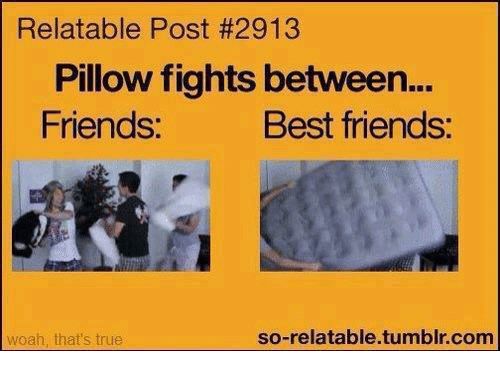 Best Friend, Memes, And Best Friends: Relatable Post #2913 Pillow Fights  Between