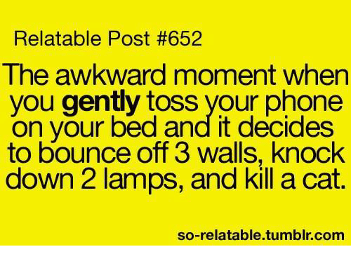 Memes, Phone, and Tumblr: Relatable Post #652  The awkward moment when  you gently toss your phone  on your bed and it decides  to bounce off 3 walls, knock  down 2 lamps, and kill a cat.  so-relatable.tumblr.com