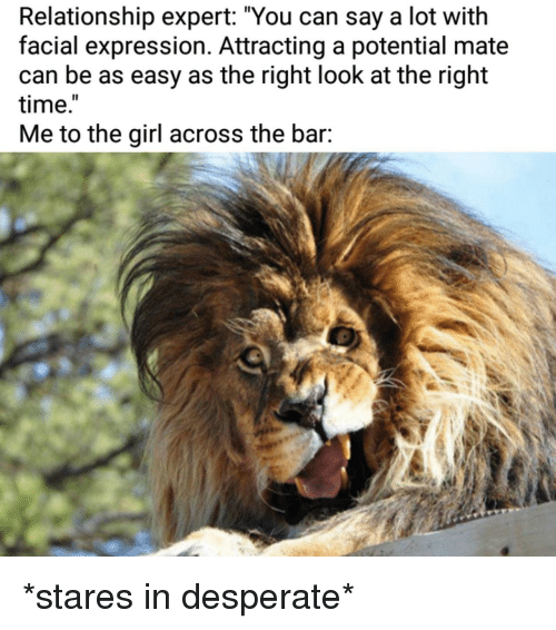 "Desperate, Girl, and Time: Relationship expert: ""You can say a lot with  facial expression. Attracting a potential mate  can be as easy as the right look at the right  time.  Me to the girl across the bar: *stares in desperate*"