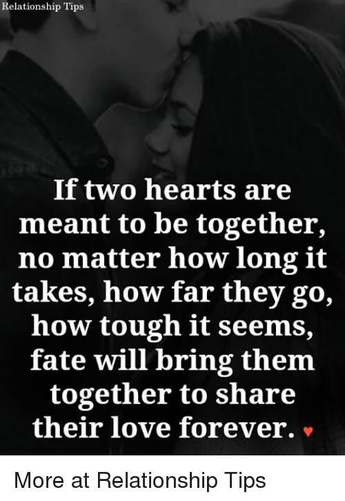 Love, Memes, and Forever: Relationship Tips  If two hearts are  meant to be together,  no matter how long it  takes, how far they go,  how tough it seems,  fate will bring them  together to share  their love forever. v More at Relationship Tips