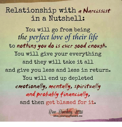Relationship With a Narcissist in a Nutshell You Will Go