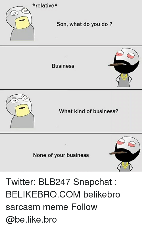 Be Like, Meme, and Memes: *relative*  Son, what do you do?  Business  What kind of business?  None of your business Twitter: BLB247 Snapchat : BELIKEBRO.COM belikebro sarcasm meme Follow @be.like.bro