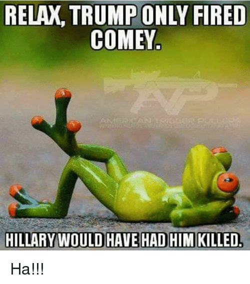 Memes, Trump, and 🤖: RELAX, TRUMP ONLY FIRED  COMEY  HILLARY WOULD HAVE HAD HIM KILLED Ha!!!