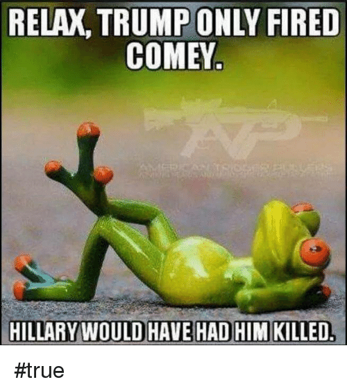 Memes, True, and Trump: RELAX, TRUMP ONLY FIRED  COMEY  HILLARY WOULD HAVE HADHIMKILLED. #true