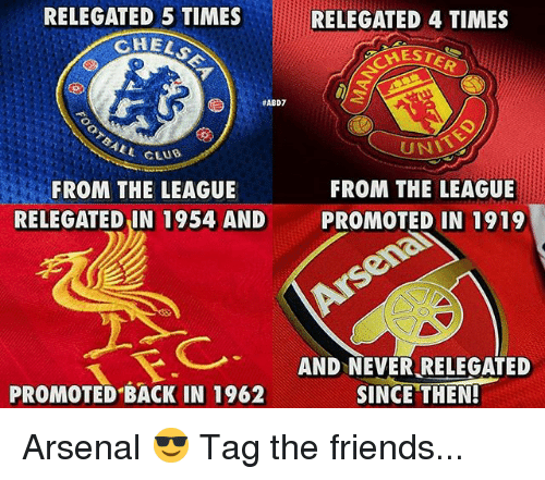 Arsenal, Club, and Friends: RELEGATED 5 TIMES  CHEL  RELEGATED 4 TIMES  HEST  #ABD7  UNL  FROM THE LEAGUE  PROMOTED IN 1919  ALL CLUB  FROM THE LEAGUE  RELEGATED IN 1954 AND  AND NEVER RELEGATED  PROMOTED BACK IN 1962  SINCETHEN厂 Arsenal 😎 Tag the friends...