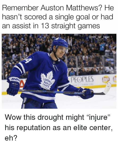 "Logic, Memes, and National Hockey League (NHL): Remember Auston Matthews? He  nasn't scored a single goal or had  an assist in 13 straight games  @nhl _ref _logic  PEOPLES  TORONT Wow this drought might ""injure"" his reputation as an elite center, eh?"