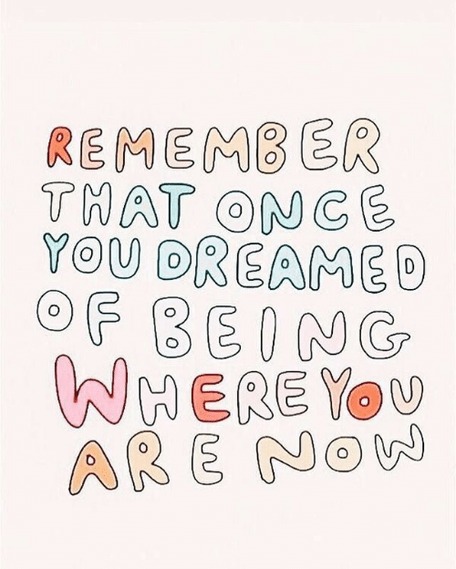 Once, Remember, and You: REMEMBER  THAT ONCE  YOU DREAME  OF BEING  WHERE You  ARE Now